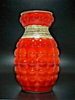 Seltene BAY Keramik Vase FAT LAVA Nr. 64 20 Red/Orange Granade Form Noppenvase