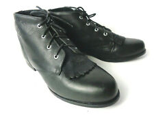 Vintage ARIAT Womens US 7M Black Leather Ankle Boot with Kiltie BRAZIL
