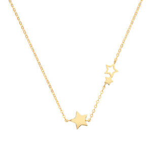 9ct Gold Stars Necklace Pendant Chain  - Adjustable - Boxed - 375 9ct Gold
