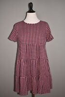 MADEWELL NEW $118 Short Sleeve Tiered Mini Dress in Gingham Check Medium
