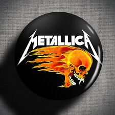 METALLICA FLAMING SKULL Pin Button Badge (1 inch 25mm) Heavy Metal Music Band