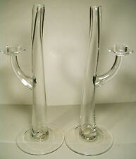 PAIR LARGE GOMMAIRE CLEYBERGH  CLEAR ART GLASS CANDLESTICKS VASE