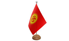 Kyrgyzstan Small Table Flag with Wooden Stand