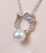 Hello Kitty Necklace Freshwater Pearl 925 Sterling Silver Pendant Chain Necklace