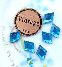 #1572 Vintage Diamond shaped Stones Sapphire Blue NOS Glass OLD 10x7mm NOS Foil