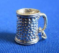 VINTAGE 925 argento Sterling Charm Braccialetto dettagliate TAZZA BIRRA TANKARD
