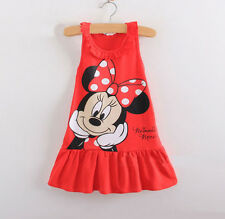 Kids Baby Girls Skirt Red Minnie Mouse Cartoon Sleeveless Cotton Tops Dress 2-3Y