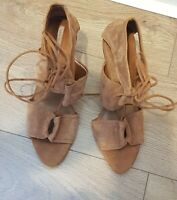 ZARA BASIC COLLECTION TAN BROWN SUEDE LACE UP SANDALS HIGH HEELS  UK 8 EUR 41