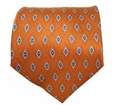 Neo By Bill Blass Silk Tie Rust with Blue Diamonds