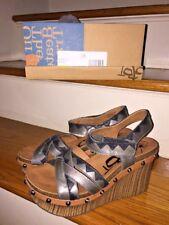 3b316b59ee3 NIb OTBT Eccentric Leather Wedge Chunky Sandals Platform High Heels Women  SZ 6.5