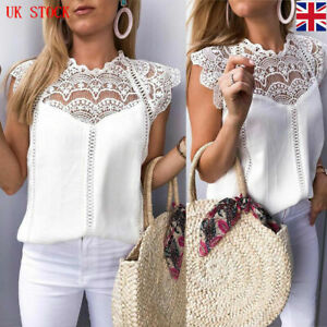 Womens Sexy Lace sleeveless Top Blouse Ladies Casual Loose T shirt Tops