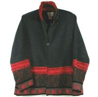 COLDWATER CREEK Women's Sz M Black & Red Acrylic Button Front Jacket Lace Detail