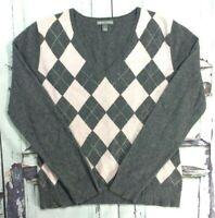 Women's Apt. 9 V-Neck 100% Cashmere Sweater sz L argyle grey pink