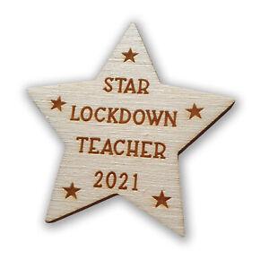 Handmade Wooden Teacher Star Leaving Gift School Nursery Keepsake Card Lockdown
