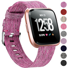For Fitbit Versa / 2 Woven Canvas Fabric Replacement Wristband Watch Wrist Band