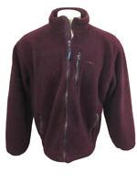 Vtg 80s 90s LL Bean Fleece Warm Up Jacket full zip Coat Maroon L regular USA