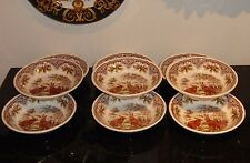 9 VICTORIAN ENGLISH POTTERY BUNNY RABBIT SOUP OR FRUITS BOWLS 7""