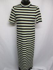 Zara Women's Multi Color Stripe Mock Neck Short Sleeve Dress Size S       Z1
