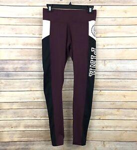 PINK Victoria's Secret Ultimate Leggings S Plum Black Off White Graphic Logo