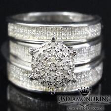 Mens Ladies 1/2 CT Genuine Diamonds Wedding Band Trio Set Engagement Ring Silver