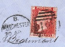 Great Britain Manchester Stafford Lincolnshire Rr Penny Red Plate 123 Cover 8u