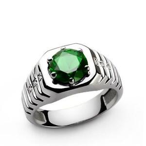 Natural Green Imitation Gemstone 18K White Gold Men's Ring SR850