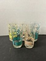 Fred Press Multi Color And Gold Circles High Ball Tumblers Set Of 5 VINTAGE