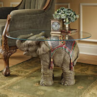 Royal Exotic African Elephant Glass Top Table Wildlife Sculpture NEW