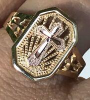 GOLD 14k ring Cross Yellow Rose  8 6 7 9 10 2.4g