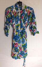 Vibrant Floral Cotton Oversize Shirt / Dress New With Tags Size 14