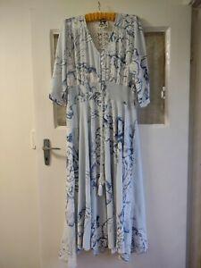 Jaase L Maxi Dress Boho Floral Blue 3/4 Sleeve