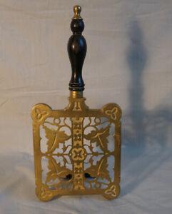 Antique English adjustable brass fireplace fender trivet c1850 stamped 3828 J C