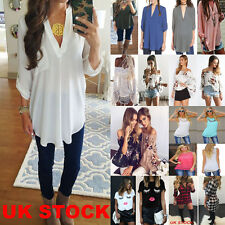 Womens Casual Long Sleeve Tops Shirt Ladies V Neck  Loose T-shirt Blouse Tee Top