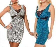 SeXy Damen Spitze Mini Kleid Animal Dress S 34 M 36 L 38 schwarz weiß blau TOP