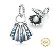Charm Anhänger Damen wie f. Pandora Seemuschel 925 Sterling Silber Perle E3
