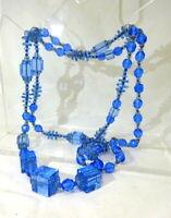 An Antique Art Deco Long Flapper Blue Crystal Cube Necklace