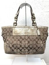 Coach G05M-8K49 Beige Brown Signature Jacquard Leather Trim Top Zip Tote Bag