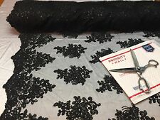 Wholesale fabric / By Roll 20 Yard / Lace Fabric Embroidered With Sequins Black