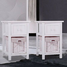 Set of 2 White Nightstand End Table Bedroom Bedside Furniture w/Wicker Storage