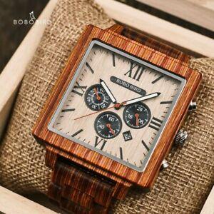 BOBO BIRD Luxury Ebony Wood Chronograph Watches Xmas Gifts For Him Men Male Box
