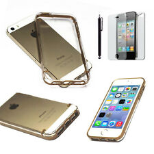 iPhone SE / 5S / 5 Gold Shockproof Dirt Dust Proof Hard Crystal Clear Cover Case