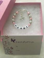 Girls Personalised Born in 2018 bracelet New Baby Name Bracelet Present Gift Box