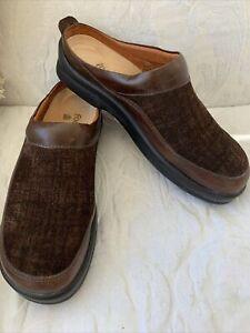 Footprints Birkenstock Patterned Brown Leather Slip-On Shoes Women SZ 40 9/9.5