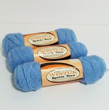 3 Vintage Sky Blue Romaxe Yarn 2 oz 2 Ply Skeins USA Wintuk Sports Orlon Acrylic