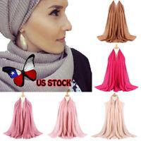 Women Cotton linen Scarf Muffler Cashmere Bubble Solid Muslim Hijab Head Scarf