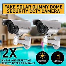2x Solar Power Fake Outdoor Dummy Security CCTV Surveillance Camera LED Light