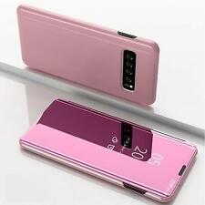 Mirror View Flip Case Samsung Galaxy S10 Schutz Hülle Handy Tasche ROSEGOLD