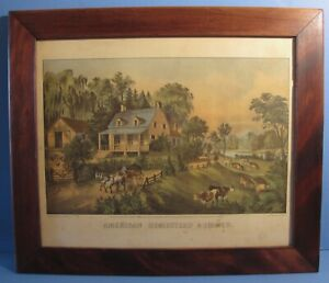 1869 Currier & Ives Hand Colored Lithograph American Homestead Summer