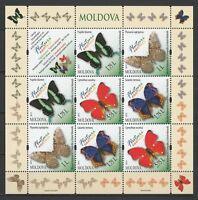 Moldova 2013 Butterflies Minisheet 8 MNH stamps