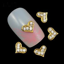 6 x Gold Alloy & Clear Rhinestone Nail Art Heart Charm Decorations (B4)